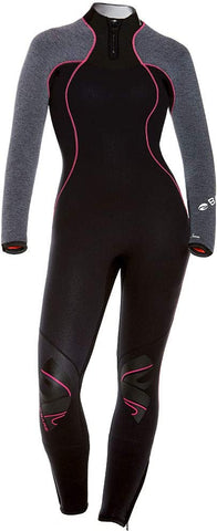 Bare 3/2mm Womens Nixie Ultra Wetsuit (Grey Heather (Pink Stitching), 8 Tall)