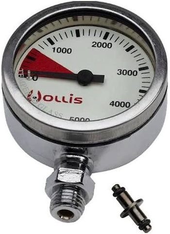Hollis New Heavy Duty Brass SPG Submersible Pressure Gauge w/o Boot/Hose (PSI)/FBM