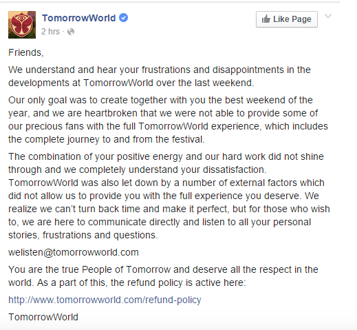 TomorrowWorld 2015 apologizes for weather conditions