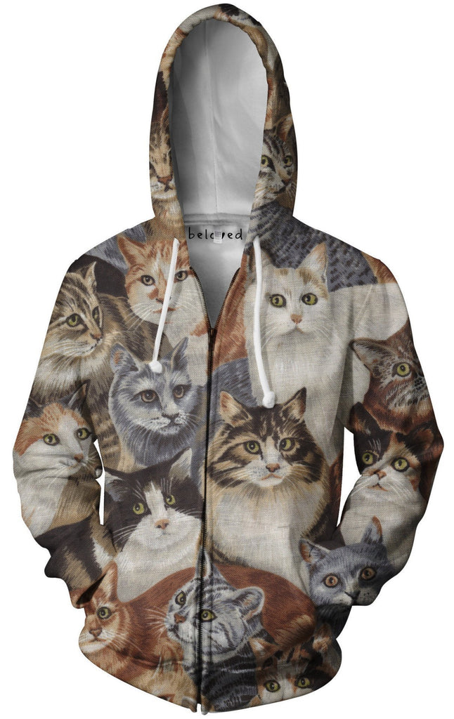 Beloved Cats Unisex Zip-Up Hoodie (Ready To Ship)
