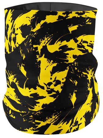 Big Tex Funkadelic - Black and Yellow Paint Splatter Bandana Mask