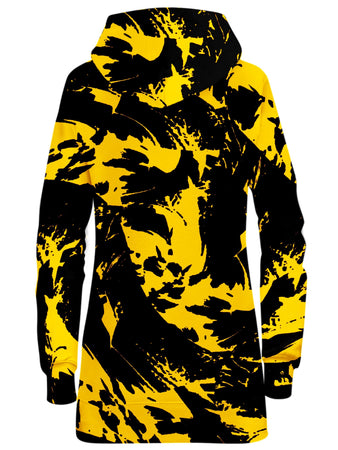 Big Tex Funkadelic - Black and Yellow Paint Splatter Hoodie Dress