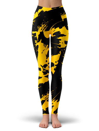 Big Tex Funkadelic - Black and Yellow Paint Splatter Leggings