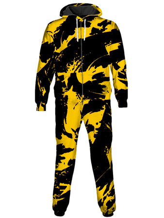 Big Tex Funkadelic - Black and Yellow Paint Splatter Onesie