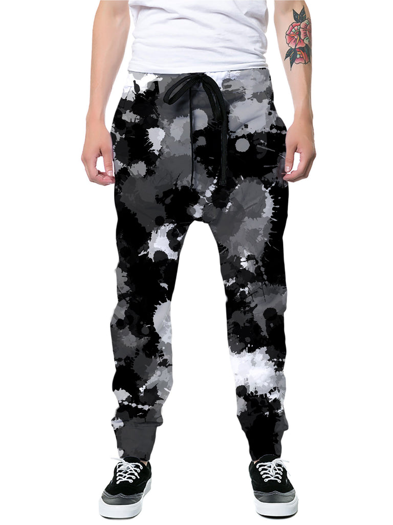 Big Tex Funkadelic Black White and Grey Paint Splatter Joggers - iEDM