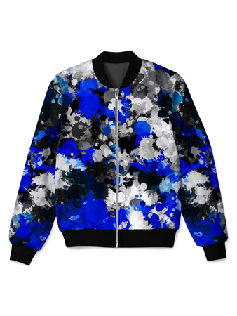 Big Tex Funkadelic - Blue and Grey Paint Splatter Bomber Jacket