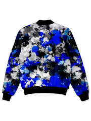 Big Tex Funkadelic Blue and Grey Paint Splatter Bomber Jacket