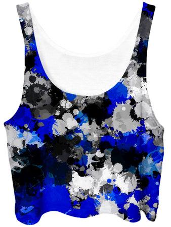 Big Tex Funkadelic - Blue and Grey Paint Splatter Crop Top
