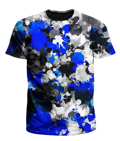 Big Tex Funkadelic - Blue and Grey Paint Splatter Men's T-Shirt