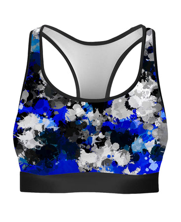 Big Tex Funkadelic - Blue and Grey Paint Splatter Rave Bra