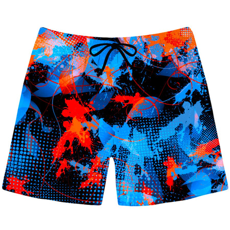 Big Tex Funkadelic - Blue and Orange Paint Splatter Swim Trunks