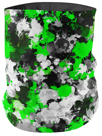 Big Tex Funkadelic - Green and Grey Paint Splatter Bandana Mask