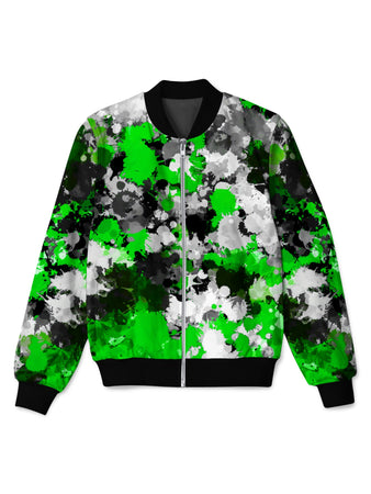 Big Tex Funkadelic - Green and Grey Paint Splatter Bomber Jacket