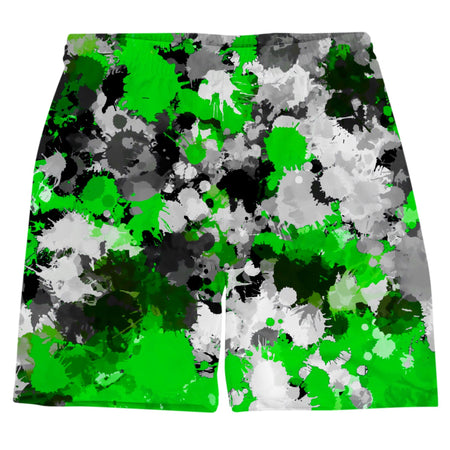 Big Tex Funkadelic - Green and Grey Paint Splatter Weekend Shorts