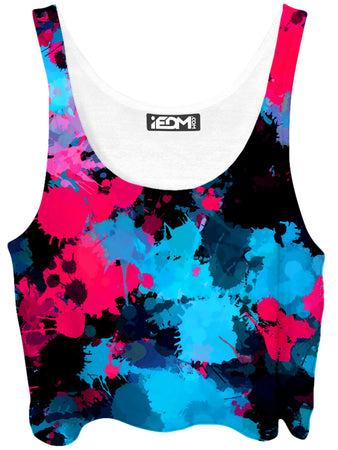 Big Tex Funkadelic - Pink and Blue Paint Splatter Crop Top