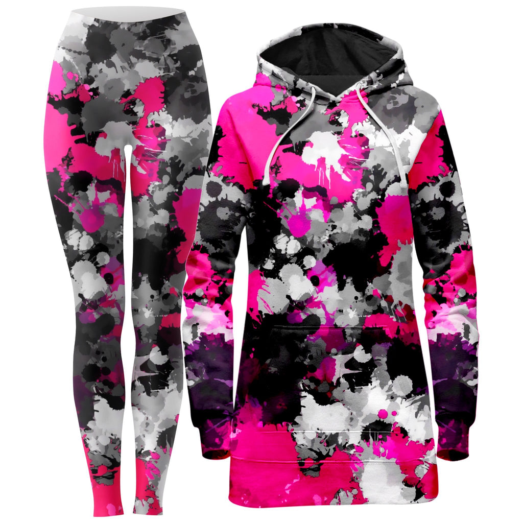 Big Tex Funkadelic Pink and Grey Paint Splatter Hoodie Dress and Leggings Combo