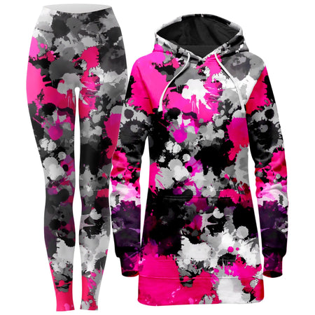 Big Tex Funkadelic - Pink and Grey Paint Splatter Hoodie Dress and Leggings Combo