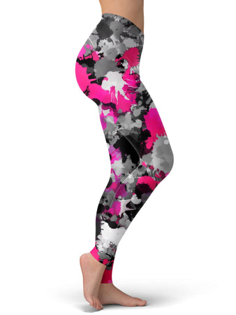 Big Tex Funkadelic - Pink and Grey Paint Splatter Leggings