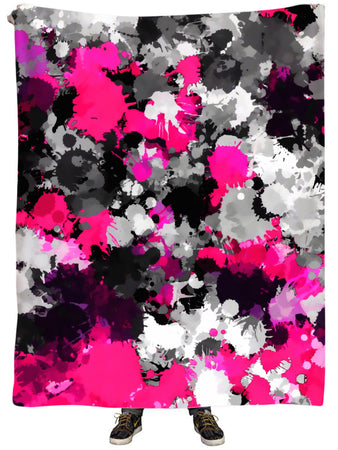 Big Tex Funkadelic - Pink and Grey Paint Splatter Plush Blanket