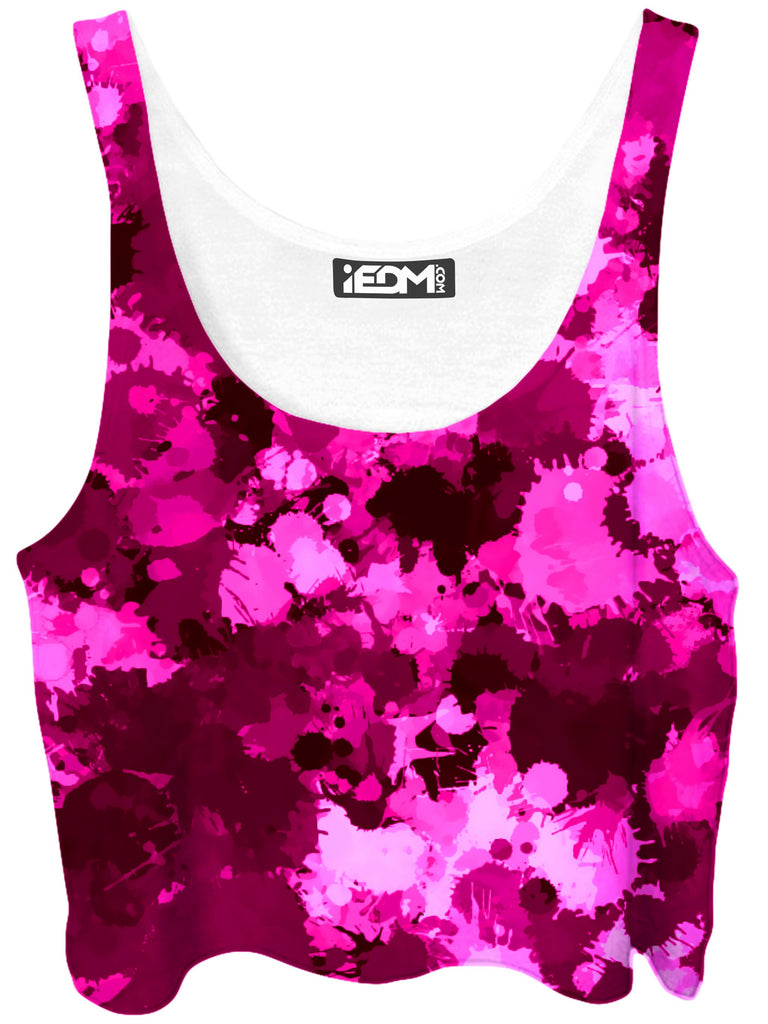 Big Tex Funkadelic Pink Berry Paint Splatter Crop Top - iEDM