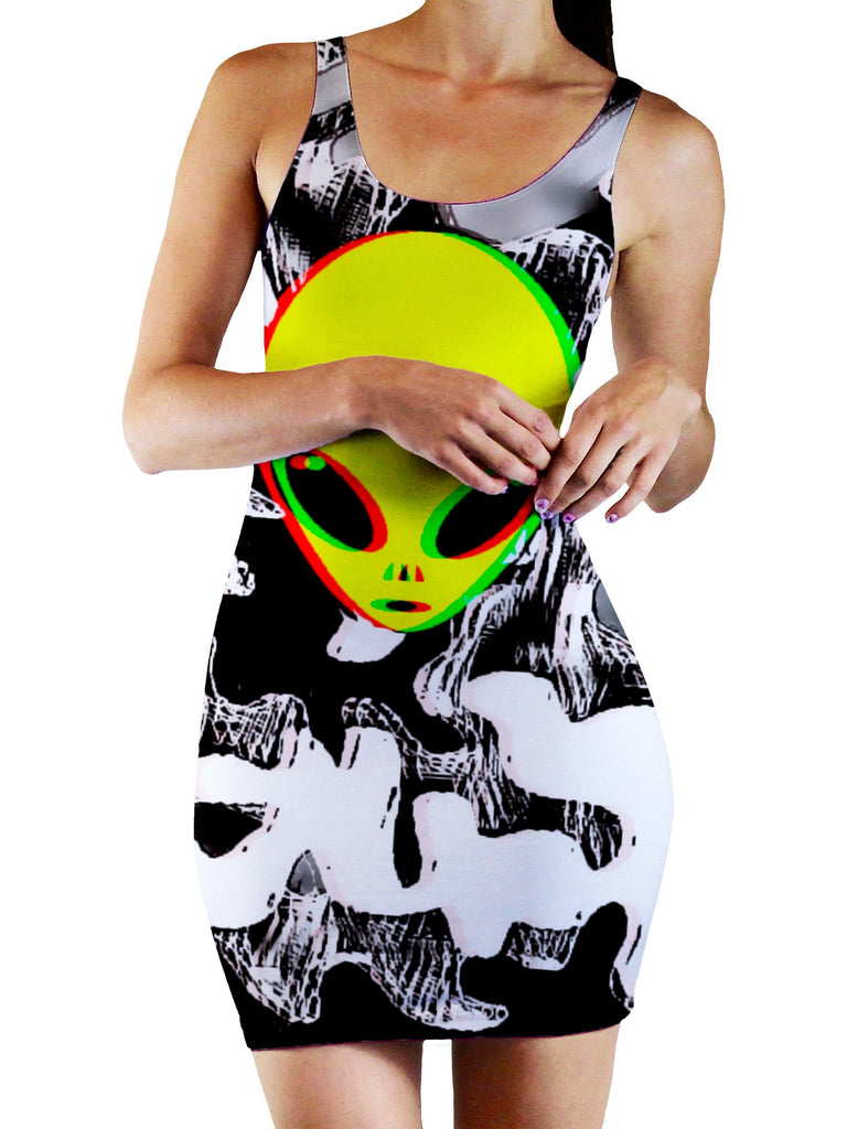 Big Tex Funkadelic Trippy Alien Bodycon Mini Dress