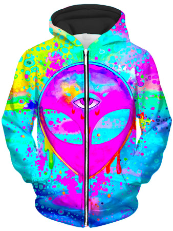BrizBazaar - Alien Melt Pink Unisex Zip-Up Hoodie
