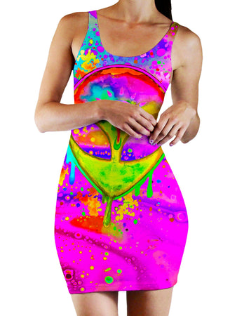 BrizBazaar - Alien Melt Yellow Bodycon Mini Dress