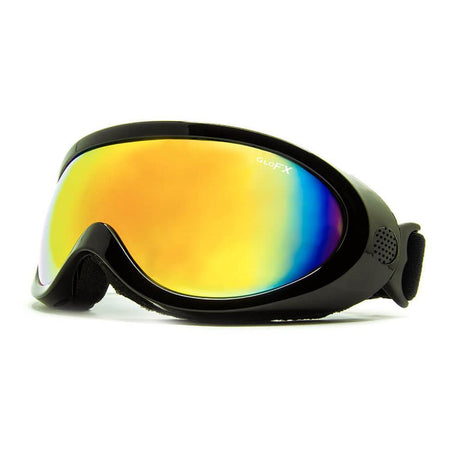 GloFX - Black Diffraction Ski Goggles - Rainbow Gradient