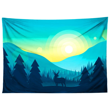 Gratefully Dyed - Blue Deer Silhouette Tapestry