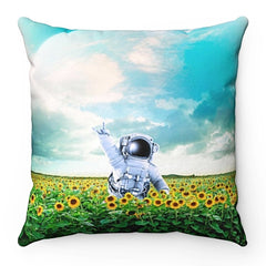 Home Decor Astronaut Flowers Square Pillow Case - iEDM