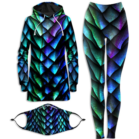 iEDM - Dosed Dragon Scale Hoodie Dress and Leggings with PM 2.5 Face Mask Combo
