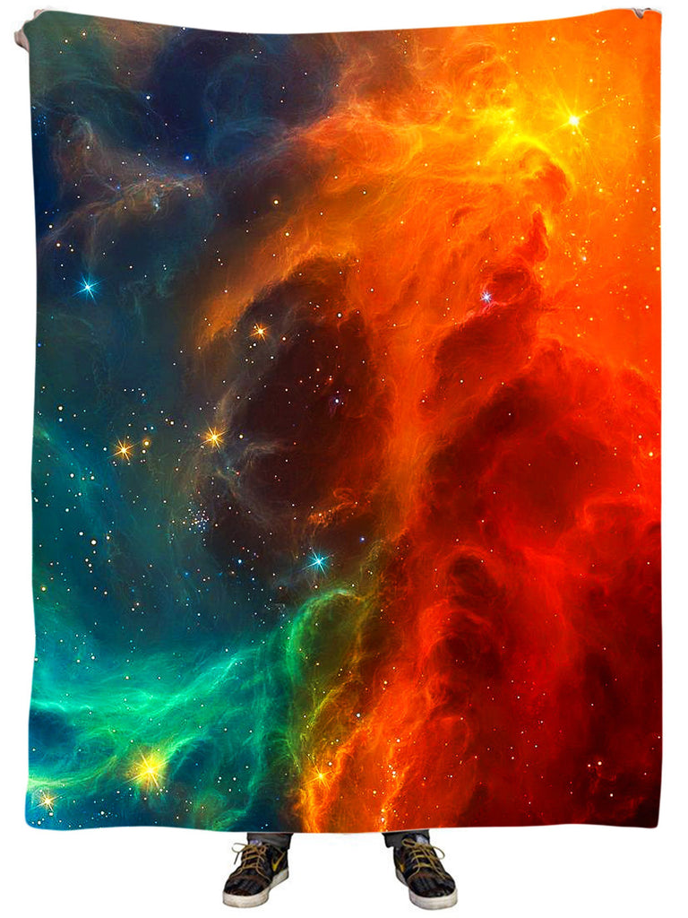 iEDM Fire and Ice Galaxy Plush Blanket