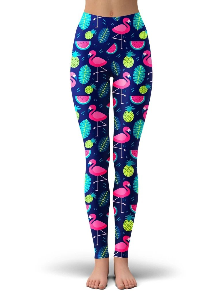 iEDM Neon Flamingo Crop Top and Leggings with PM 2.5 Face Mask Combo - iEDM