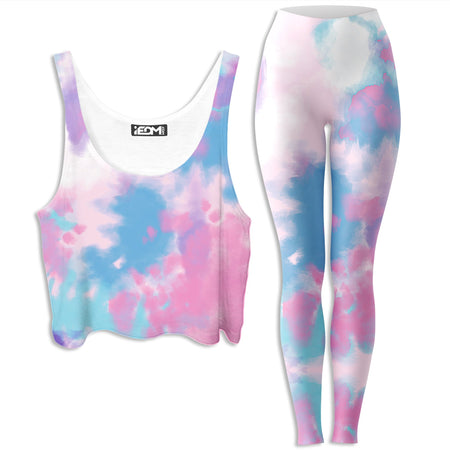 iEDM - Purple Dye Crop Top and Leggings Combo