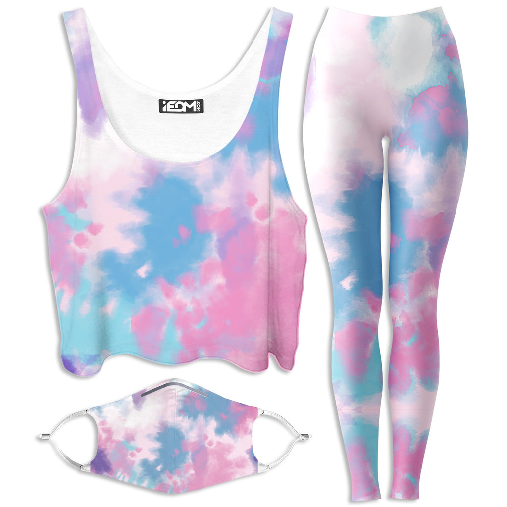 iEDM Purple Dye Crop Top and Leggings with PM 2.5 Face Mask Combo - iEDM