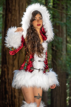 JVal Christmas - Christmas Long Sleeve Fur Trimmed Coat