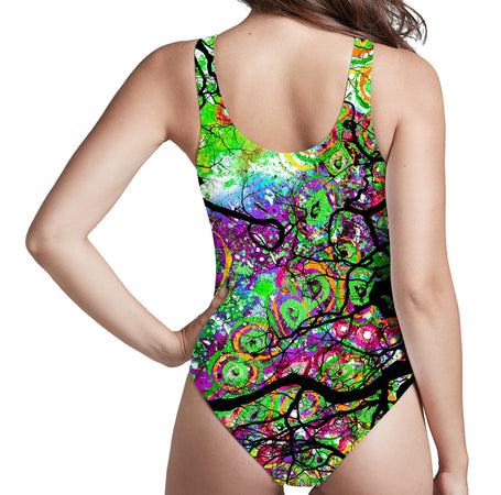 Lucid Eye Studios - Radial Roots Low Cut One-Piece Swimsuit