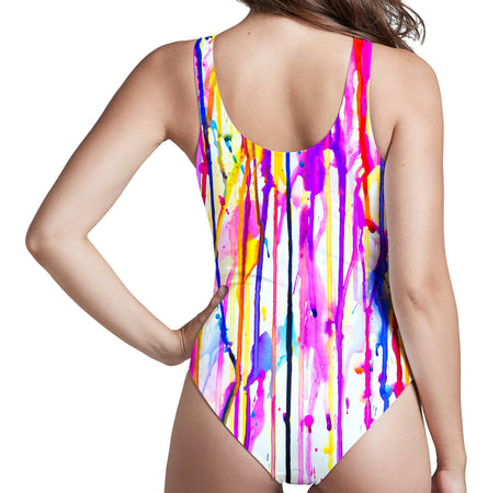 Marc Allante - Lavender Low Cut One-Piece Swimsuit