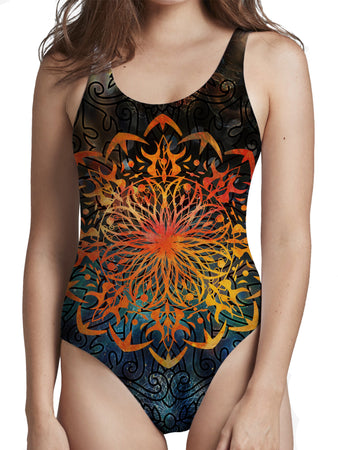 MCAshe Spiritual Art - Fire Ornament Low Cut One-Piece Swimsuit
