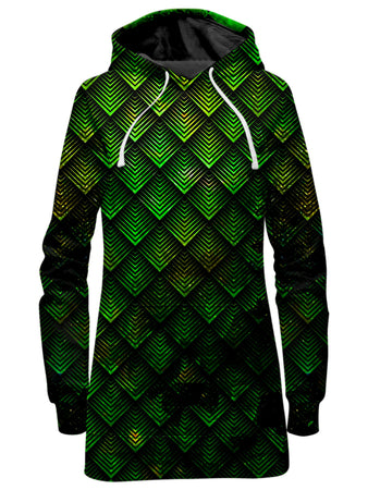 Noctum X Truth - Galactic Dragon Scale Green Hoodie Dress