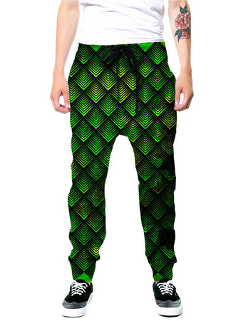 Noctum X Truth - Galactic Dragon Scale Green Joggers