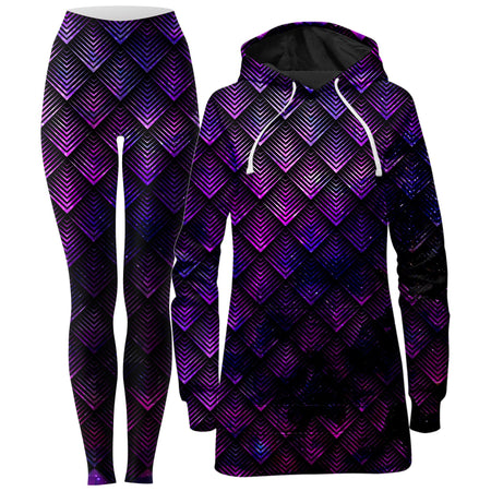 Noctum X Truth - Galactic Dragon Scale Purple Hoodie Dress and Leggings Combo