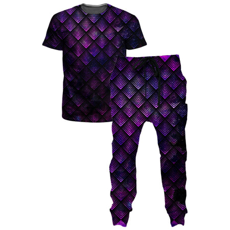 Noctum X Truth - Galactic Dragon Scale Purple T-Shirt and Joggers Combo
