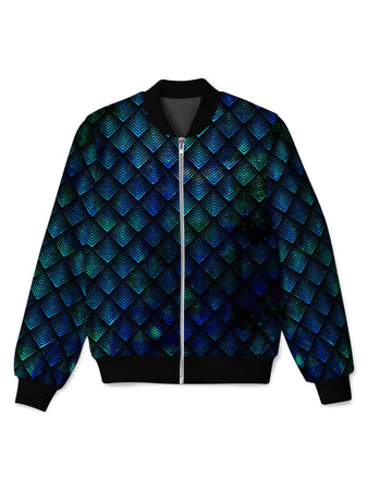 Noctum X Truth - Galactic Dragon Scale Teal Bomber Jacket