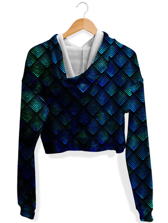 Noctum X Truth - Galactic Dragon Scale Teal Fleece Crop Hoodie