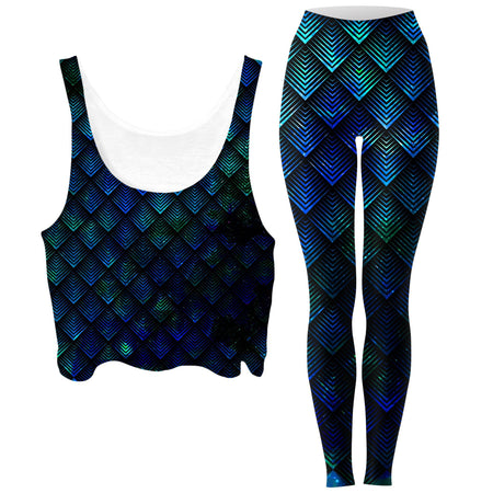 Noctum X Truth - Galactic Dragon Scale Teal Crop Top and Leggings Combo