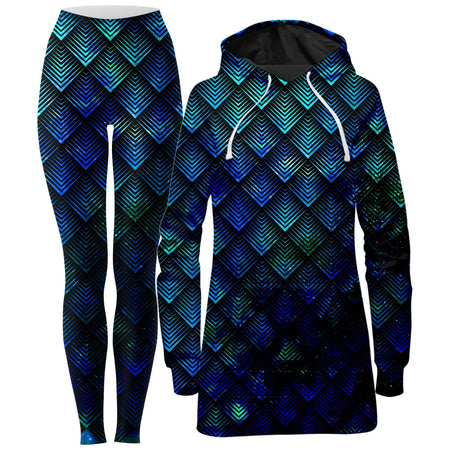 Noctum X Truth - Galactic Dragon Scale Teal Hoodie Dress and Leggings Combo