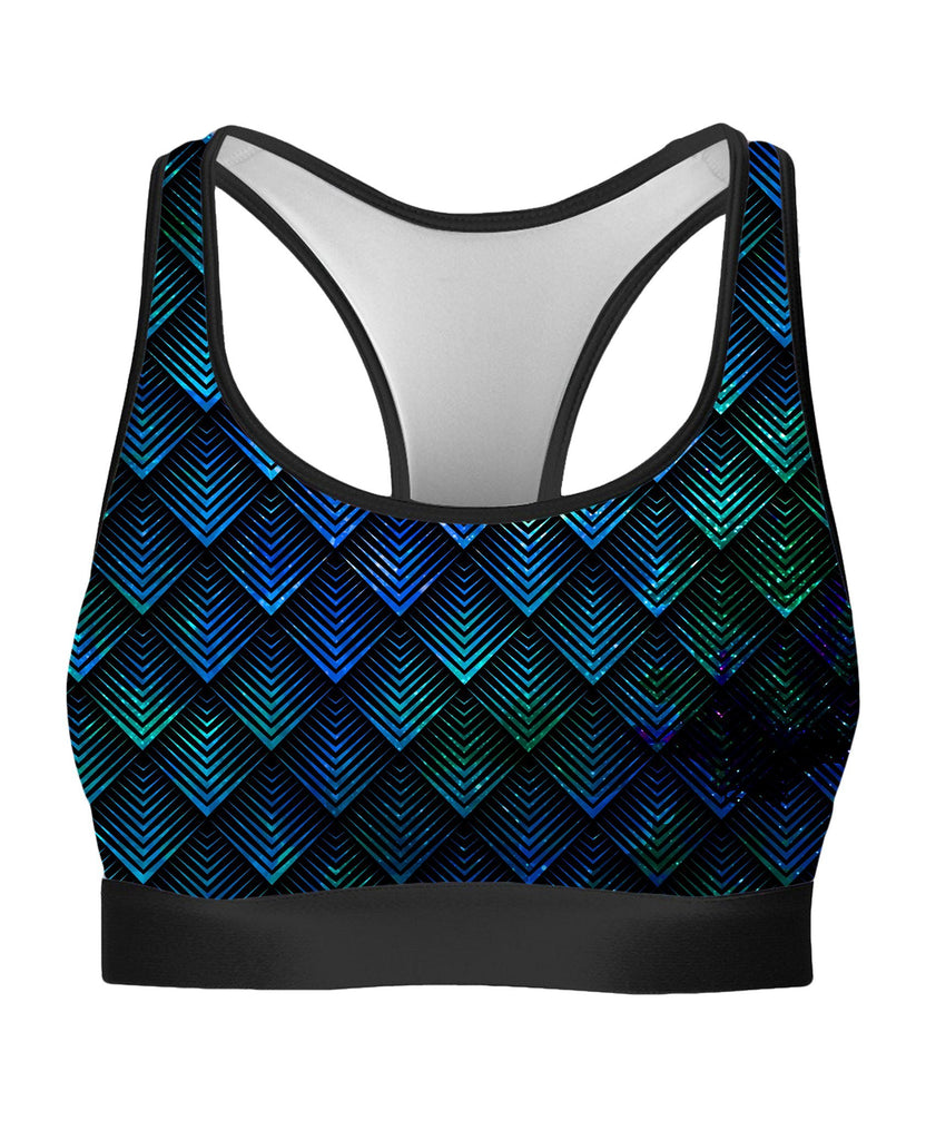 Noctum X Truth Galactic Dragon Scale Teal Rave Bra - iEDM