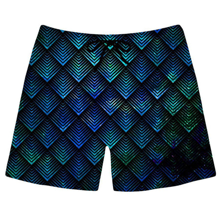 Noctum X Truth - Galactic Dragon Scale Teal Swim Trunks