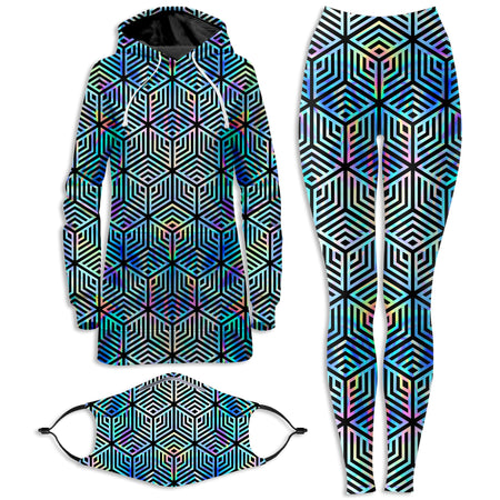 Noctum X Truth - Holographic Hexagon Hoodie Dress and Leggings with PM 2.5 Face Mask Combo
